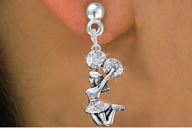 <BR>      WHOLESALE CHEERLEADER EARRING<bR>               EXCLUSIVELY OURS!! <Br>          AN ALLAN ROBIN DESIGN!! <BR>    LEAD, NICKEL & CADMIUM FREE!! <BR> W1409SE - SILVER TONE AND CRYSTAL <BR> JUMPING CHEERLEADER CHARM EARRINGS <BR>       FROM $4.95 TO $10.00 �2013