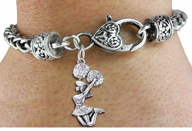<BR>      WHOLESALE CHEERLEADER JEWELRY<bR>            EXCLUSIVELY OURS!! <BR>       AN ALLAN ROBIN DESIGN!! <BR>          LEAD & NICKEL FREE!! <BR> W1409SB - SILVER TONE AND CRYSTAL <BR>  JUMPING CHEERLEADER CHARM ON <BR>  HEART LOBSTER CLASP BRACELET <Br>    FROM $5.63 TO $12.50 �2013