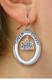 "<br>         WHOLESALE CHEERLEADER JEWELRY <bR>                    EXCLUSIVELY OURS!! <BR>               AN ALLAN ROBIN DESIGN!! <BR>                  LEAD & NICKEL FREE!! <BR>   W20351E -  SILVER TONE ""CHEER"" OVAL <BR>  WITH SILVER TONE ""CHEER LEADER"" WORD <BR>  CHARM ON A PAIR OF FISHHOOK EARRINGS <BR>            FROM $8.10 TO $18.00 �2013"