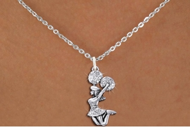 <BR>      WHOLESALE CHEERLEADER NECKLACE<bR>                 EXCLUSIVELY OURS!! <Br>            AN ALLAN ROBIN DESIGN!! <BR>   CLICK HERE TO SEE 1000+ EXCITING <BR>         CHANGES THAT YOU CAN MAKE! <BR>      LEAD, NICKEL & CADMIUM FREE!! <BR>  W1409SN - SILVER TONE AND CRYSTAL <BR> JUMPING CHEERLEADER CHARM NECKLACE <BR>          FROM $5.40 TO $9.85 �2013