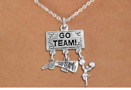 "<br> WHOLESALE CHEERLEADER NECKLACE<Br>                EXCLUSIVELY OURS!! <Br>           AN ALLAN ROBIN DESIGN!! <Br>              LEAD & NICKEL FREE!! <BR>  W20130N - SILVER TONE ""GO TEAM!"" <BR>  CHEERLEADING THEMED PENDANT WITH <BR> WHISTLE, MEGAPHONE & CHEERLEADER <BR>   ON LOBSTER CLASP CHAIN NECKLACE <BR>          FROM $7.85 TO $17.50 �2013"