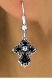 <BR>    WHOLESALE CHRISTIAN FASHION EARRINGS  <bR>                      EXCLUSIVELY OURS!!  <Br>                 AN ALLAN ROBIN DESIGN!!  <BR>           LEAD, NICKEL & CADMIUM FREE!!  <BR>      W1712SE1 - ANTIQUED SILVER TONE AND  <BR>CLEAR AND JET CRYSTAL GOTHIC CROSS CHARM  <BR>     ON SURGICAL STEEL FISHHOOK EARRINGS <BR>              FROM $5.40 TO $10.45 �2015