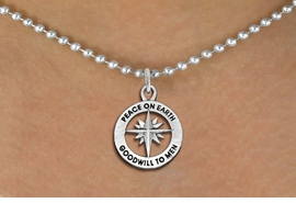 """<BR>WHOLESALE CHRISTIAN JEWELRY<bR>                 EXCLUSIVELY OURS!!<BR>           AN ALLAN ROBIN DESIGN!!<BR>  CLICK HERE TO SEE 1000+ EXCITING<BR>     CHANGES THAT YOU CAN MAKE!<BR> CADMIUM, LEAD & NICKEL FREE!! <BR>W1313SN - ROUND SILVER TONE <BR>""""PEACE ON EARTH"""" CHRISTMAS CHARM <BR>& NECKLACE FROM $4.50 TO $8.35 �2012"""