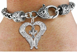 <BR>WHOLESALE CHRISTIAN JEWELRY<bR>               EXCLUSIVELY OURS!! <BR>             LEAD & NICKEL FREE!! <BR> CHRISTIAN THEMED CHARM BRACELET! <BR>  W20263B - GUARDIAN ANGEL WINGS <Br>  WITH SILVER TONE DOVE ON CROSS <BR>    CHARM & HEART CLASP BRACELET <BR>      FROM $6.19 TO $13.75 �2013