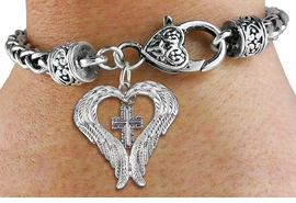 <BR>WHOLESALE CHRISTIAN JEWELRY<bR>               EXCLUSIVELY OURS!! <BR>             LEAD & NICKEL FREE!! <BR> CHRISTIAN THEMED CHARM BRACELET! <BR>  W20265B - GUARDIAN ANGEL WINGS <Br>   WITH SILVER TONE SCRIPT CROSS <BR>    CHARM & HEART CLASP BRACELET <BR>      FROM $6.19 TO $13.75 �2013