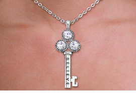 "<br>    WHOLESALE CHRISTIAN NECKLACE SET <bR>        CADMIUM, LEAD & NICKEL FREE!! <BR> W20592NE - BRIGHT SILVER TONE AND <BR> AUSTRIAN CRYSTAL ""KEY TO BELIEVING"" <BR>   PENDENT NECKLACE AND EARRING SET <BR>         FROM $6.75 TO $15.00 �2013"