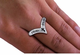 "<BR>       WHOLESALE CHRISTIAN RINGS <BR> CADMIUM,  LEAD,  AND NICKEL FREE!!!! <Br>W20591R - SILVER TONE POINTED ""PRAY"" <BR> STRETCH RING FROM $2.25 TO $5.00 �2013"
