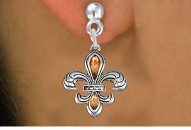 <BR>  WHOLESALE COSTUME FASHION EARRINGS <bR>               EXCLUSIVELY OURS!! <Br>          AN ALLAN ROBIN DESIGN!! <BR>    LEAD, NICKEL & CADMIUM FREE!! <BR>  W1507E1 - SILVER TONE AND AUSTRIAN <BR>   TOPAZ CRYSTAL FLEUR DE  LIS CHARM <BR>  EARRINGS FROM $5.40 TO $10.45 �2013