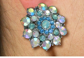 <Br>          WHOLESALE COSTUME JEWELRY <BR>               LEAD & NICKEL FREE!! <Br>  W20600E - SILVER TONE ROSE DESIGN <Br>      AURORA BOREALIS AND TURQUOISE <Br>       CRYSTAL CLIP-ON EAR EARRINGS <Br>         FROM $5.06 TO $11.25 �2013