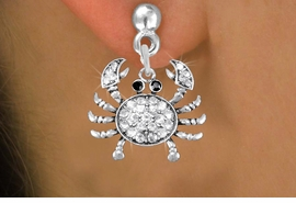<BR>      WHOLESALE CRAB EARRING<bR>              EXCLUSIVELY OURS!! <Br>         AN ALLAN ROBIN DESIGN!! <BR>   LEAD, NICKEL & CADMIUM FREE!! <BR> W1421SE - SILVER TONE CRAB WITH JET <BR> AND CLEAR CRYSTALS CHARM EARRINGS <BR>      FROM $4.95 TO $10.00 �2013