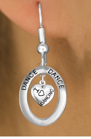 "<BR>      WHOLESALE DANCE EARRING<bR>                    EXCLUSIVELY OURS!! <BR>               AN ALLAN ROBIN DESIGN!!<BR>                  LEAD & NICKEL FREE!! <BR> W20044E -  SILVER TONE ""DANCE"" OVAL <BR> WITH SILVER TONE ""I LOVE DANCING"" HEART <BR>       CHARM ON FISHHOOK EARRINGS <BR>          FROM $8.66 TO $19.25 �2013"