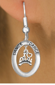 "<BR>      WHOLESALE DRILL JEWELRY<bR>                    EXCLUSIVELY OURS!! <BR>               AN ALLAN ROBIN DESIGN!!<BR>                  LEAD & NICKEL FREE!! <BR> W20052E -  SILVER TONE ""DANCE"" OVAL <BR>    WITH SILVER TONE ""I LOVE DRILL"" <BR>       CHARM ON FISHHOOK EARRINGS <BR>          FROM $8.10 TO $18.00 �2013"