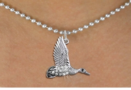 <BR>        WHOLESALE DUCK HUNTING NECKLACE <bR>                    EXCLUSIVELY OURS!! <Br>               AN ALLAN ROBIN DESIGN!! <BR>      CLICK HERE TO SEE 1000+ EXCITING <BR>            CHANGES THAT YOU CAN MAKE! <BR>         LEAD, NICKEL & CADMIUM FREE!! <BR>     W1505SN - SILVER TONE AND GENUINE <BR>   AUSTRIAN CRYSTAL FLYING DUCK CHARM  <BR>    NECKLACE FROM $5.40 TO $9.85 �2013