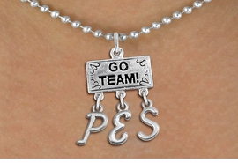 "<br> WHOLESALE ELEMENTARY SCHOOL JEWELRY<Br>                  EXCLUSIVELY OURS!!<Br>            AN ALLAN ROBIN DESIGN!!<Br>                 LEAD & NICKEL FREE!! <BR>       THIS IS A PERSONALIZED ITEM <Br> W20101N - SILVER TONE ""GO TEAM!"" <BR> CHARM ON BALL CHAIN NECKLACE WITH <BR> YOUR ELEMENTARY SCHOOL INITIALS <BR>        FROM $7.85 TO $17.50 �2013"