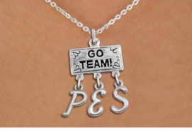 "<br> WHOLESALE ELEMENTARY SCHOOL JEWELRY<Br>                  EXCLUSIVELY OURS!!<Br>            AN ALLAN ROBIN DESIGN!!<Br>                 LEAD & NICKEL FREE!! <BR>       THIS IS A PERSONALIZED ITEM <Br> W20105N - SILVER TONE ""GO TEAM!"" <BR> CHARM ON CHAIN LINK NECKLACE WITH <BR> YOUR ELEMENTARY SCHOOL INITIALS <BR>        FROM $7.85 TO $17.50 �2013"