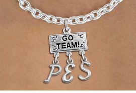 "<br> WHOLESALE ELEMENTARY SCHOOL NECKLACE<Br>                  EXCLUSIVELY OURS!!<Br>            AN ALLAN ROBIN DESIGN!!<Br>                 LEAD & NICKEL FREE!! <BR>       THIS IS A PERSONALIZED ITEM <Br> W20109N - SILVER TONE ""GO TEAM!"" <BR> CHARM ON TOGGLE CHAIN NECKLACE WITH <BR> YOUR ELEMENTARY SCHOOL INITIALS <BR>        FROM $7.85 TO $17.50 �2013"