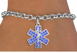 <BR>  WHOLESALE EMT BRACELET JEWELRY<bR>                EXCLUSIVELY OURS!! <Br>           AN ALLAN ROBIN DESIGN!! <BR>  CLICK HERE TO SEE 1000+ EXCITING <BR>        CHANGES THAT YOU CAN MAKE! <BR>     LEAD, NICKEL & CADMIUM FREE!! <BR>    W1468SB - SILVER TONE AND BLUE <BR> CRYSTAL EMT CROSS CHARM & BRACELET <BR>         FROM $5.40 TO $9.85 �2013