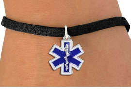 <BR>  WHOLESALE EMT BRACELET JEWELRY <bR>                EXCLUSIVELY OURS!! <Br>           AN ALLAN ROBIN DESIGN!! <BR>  CLICK HERE TO SEE 1000+ EXCITING <BR>        CHANGES THAT YOU CAN MAKE! <BR>     LEAD, NICKEL & CADMIUM FREE!! <BR> W1496SB - SILVER TONE BLUE AND WHITE <BR> FILL EMT CROSS WITH CADUCEUS CHARM <BR>  BRACELET FROM $5.15 TO $9.00 �2013