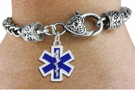 <BR>  WHOLESALE EMT BRACELET JEWELRY <bR>                EXCLUSIVELY OURS!! <Br>           AN ALLAN ROBIN DESIGN!! <BR>     LEAD, NICKEL & CADMIUM FREE!! <BR> W1496SB - SILVER TONE BLUE AND WHITE <BR> FILL EMT CROSS WITH CADUCEUS CHARM <BR>   ON HEART LOBSTER CLASP BRACELET <Br>     FROM $5.63 TO $12.50 �2013