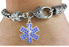 <bR>   WHOLESALE EMT CHARM BRACELET <BR>             EXCLUSIVELY OURS!! <BR>        AN ALLAN ROBIN DESIGN!! <BR>           LEAD & NICKEL FREE!! <BR> W1468SB - SILVER TONE AND BLUE <BR>     CRYSTAL EMT CROSS CHARM ON <BR>   HEART LOBSTER CLASP BRACELET <Br>     FROM $5.63 TO $12.50 �2013