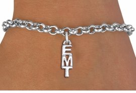"<br>      WHOLESALE EMT FASHION BRACELET <bR>                    EXCLUSIVELY OURS!!<BR>               AN ALLAN ROBIN DESIGN!!<BR>      CLICK HERE TO SEE 1000+ EXCITING<BR>            CHANGES THAT YOU CAN MAKE!<BR>         CADMIUM, LEAD & NICKEL FREE!!<BR>          W1497SB - SMALL SILVER TONE <Br>     VERTICAL ""EMT"" CHARM & BRACELET <BR>             FROM $4.15 TO $8.00 �2013"
