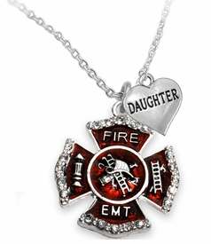 "<Br> WHOLESALE EMT ON A MALTESE CROSS JEWELRY  <BR>                         AN ALLAN ROBIN DESIGN!! <Br>                   CADMIUM, LEAD & NICKEL FREE!!  <Br> W1720-1831N1  ""EMT  DAUGHTER"" HEART  <BR>  CHARMS ON A ADJUSTABLE CHAIN NECKLACE <BR>                    FROM $7.50 TO $9.50 �2016"