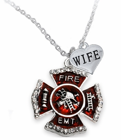"<Br> WHOLESALE EMT ON A MALTESE CROSS JEWELRY  <BR>                         AN ALLAN ROBIN DESIGN!! <Br>                   CADMIUM, LEAD & NICKEL FREE!!  <Br>           W1720-1876N1  ""EMT  WIFE"" HEART  <BR>  CHARMS ON A ADJUSTABLE CHAIN NECKLACE <BR>                   FROM $7.50 TO $9.50 �2016"