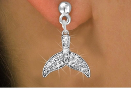 <BR>      WHOLESALE FASHION EARRING<bR>              EXCLUSIVELY OURS!! <Br>         AN ALLAN ROBIN DESIGN!! <BR>   LEAD, NICKEL & CADMIUM FREE!! <BR> W1420SE - SILVER TONE FISH TAIL FIN <BR>    CLEAR CRYSTAL CHARM EARRINGS <BR>      FROM $4.95 TO $10.00 �2013