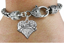 "<BR>           BASKETBALL HEART JEWELRY <bR>                   EXCLUSIVELY OURS!! <Br>              AN ALLAN ROBIN DESIGN!! <BR>        LEAD, NICKEL & CADMIUM FREE!! <BR>   W1579SB - ANTIQUED SILVER TONE AND <BR>CLEAR CRYSTAL ""BASKETBALL"" HEART CHARM <BR>   BRACELET FROM $5.40 TO $9.85 �2014<BR>PICTURED ABOVE ""HEART LOBSTER CHAIN"""