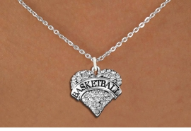 "<BR>                BASKETBALL HEART JEWELRY <bR>                   EXCLUSIVELY OURS!! <Br>              AN ALLAN ROBIN DESIGN!! <BR>        LEAD, NICKEL & CADMIUM FREE!! <BR>   W1579SN - ANTIQUED SILVER TONE AND <BR>CLEAR CRYSTAL ""BASKETBALL"" HEART CHARM <BR>   NECKLACE FROM $5.40 TO $9.85 �2014<BR>PICTURED ABOVE  ""SMALL CHAIN NECKLACE"""