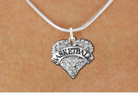"<BR>            BASKETBALL HEART JEWELRY <bR>                   EXCLUSIVELY OURS!! <Br>              AN ALLAN ROBIN DESIGN!! <BR>        LEAD, NICKEL & CADMIUM FREE!! <BR>   W1579SN - ANTIQUED SILVER TONE AND <BR>CLEAR CRYSTAL ""BASKETBALL"" HEART CHARM <BR>   NECKLACE FROM $5.40 TO $9.85 �2014<BR>PICTURED ABOVE  ""SNAKE CHAIN NECKLACE"""