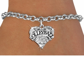 "<BR>           VOLLEYBALL HEART JEWELRY <bR>                   EXCLUSIVELY OURS!! <Br>              AN ALLAN ROBIN DESIGN!! <BR>        LEAD, NICKEL & CADMIUM FREE!! <BR>   W1580SB - ANTIQUED SILVER TONE AND <BR>CLEAR CRYSTAL ""VOLLEYBALL"" HEART CHARM <BR>   BRACELET FROM $5.40 TO $9.85 �2014<BR>    PICTURED ABOVE ""CHAIN BREACELET """