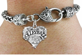 "<BR>         VOLLEYBALL HEART JEWELRY <bR>                   EXCLUSIVELY OURS!! <Br>              AN ALLAN ROBIN DESIGN!! <BR>        LEAD, NICKEL & CADMIUM FREE!! <BR>   W1580SB - ANTIQUED SILVER TONE AND <BR>CLEAR CRYSTAL ""VOLLEYBALL"" HEART CHARM <BR>       BRACELET FROM $5.40 TO $9.85 �2014<BR>    PICTURED ABOVE ""HEART LOBSTER CHAIN"""