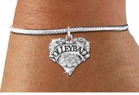 "<BR>           VOLLEYBALL HEART JEWELRY <bR>                   EXCLUSIVELY OURS!! <Br>              AN ALLAN ROBIN DESIGN!! <BR>        LEAD, NICKEL & CADMIUM FREE!! <BR>   W1580SB - ANTIQUED SILVER TONE AND <BR>CLEAR CRYSTAL ""VOLLEYBALL"" HEART CHARM <BR>   BRACELET FROM $5.40 TO $9.85 �2014<BR>PICTURED ABOVE""SNAKE CHAIN BRACELET"""