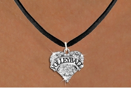 "<BR>     VOLLEYBALL HEART JEWELRY <bR>                   EXCLUSIVELY OURS!! <Br>              AN ALLAN ROBIN DESIGN!! <BR>        LEAD, NICKEL & CADMIUM FREE!! <BR>   W1580SN - ANTIQUED SILVER TONE AND <BR>CLEAR CRYSTAL ""VOLLEYBALL"" HEART CHARM <BR>   NECKLACE FROM $5.40 TO $9.85 �2014<BR>PICTURED ABOVE  ""BLACK SUEDE NECKLACE"""
