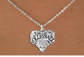 "<BR>           VOLLEYBALL HEART JEWELRY <bR>                   EXCLUSIVELY OURS!! <Br>              AN ALLAN ROBIN DESIGN!! <BR>        LEAD, NICKEL & CADMIUM FREE!! <BR>   W1580SN - ANTIQUED SILVER TONE AND <BR>CLEAR CRYSTAL ""VOLLEYBALL"" HEART CHARM <BR>   NECKLACE FROM $5.40 TO $9.85 �2014<BR>PICTURED ABOVE  ""SMALL CHAIN NECKLACE"""