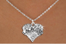 "<BR>     WHOLESALE FASHION HEART JEWELRY <bR>                   EXCLUSIVELY OURS!! <Br>              AN ALLAN ROBIN DESIGN!! <BR>     CLICK HERE TO SEE 1600+ EXCITING <BR>           CHANGES THAT YOU CAN MAKE! <BR>        LEAD, NICKEL & CADMIUM FREE!! <BR>   W1581SN - ANTIQUED SILVER TONE AND <BR>CLEAR CRYSTAL ""LACROSSE"" HEART CHARM <BR>   NECKLACE FROM $5.40 TO $9.85 �2014<BR>PICTURED ABOVE  ""SMALL CHAIN NECKLACE"""