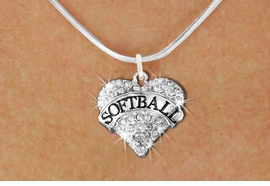 """<BR>     WHOLESALE FASHION HEART JEWELRY <bR>                   EXCLUSIVELY OURS!! <Br>              AN ALLAN ROBIN DESIGN!! <BR>     CLICK HERE TO SEE 1600+ EXCITING <BR>           CHANGES THAT YOU CAN MAKE! <BR>        LEAD, NICKEL & CADMIUM FREE!! <BR>   W1582SN - ANTIQUED SILVER TONE AND <BR>CLEAR CRYSTAL """"SOFTBALL"""" HEART CHARM <BR>   NECKLACE FROM $5.40 TO $9.85 �2014<BR>PICTURED ABOVE  """"SNAKE CHAIN NECKLACE"""""""