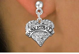 "<BR>     WHOLESALE FASHION HEART JEWELRY <bR>                   EXCLUSIVELY OURS!! <Br>              AN ALLAN ROBIN DESIGN!! <BR>        LEAD, NICKEL & CADMIUM FREE!! <BR>   W1579SE - ANTIQUED SILVER TONE AND <BR>CLEAR CRYSTAL ""BASKETBALL"" HEART CHARM <BR>POST EARRING FROM $5.40 TO $9.35 �2014"