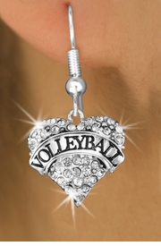"<BR>              VOLLEYBALL HEART EARRINGS <bR>                      EXCLUSIVELY OURS!! <Br>                 AN ALLAN ROBIN DESIGN!! <BR>           LEAD, NICKEL & CADMIUM FREE!! <BR>      W1580SE - ANTIQUED SILVER TONE AND <BR>   CLEAR CRYSTAL ""VOLLEYBALL"" HEART CHARM <BR>FISH HOOK EARRING FROM $5.40 TO $9.35 �2014"