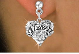 "<BR>    VOLLEYBALL HEART EARRINGS <bR>                   EXCLUSIVELY OURS!! <Br>              AN ALLAN ROBIN DESIGN!! <BR>        LEAD, NICKEL & CADMIUM FREE!! <BR>   W1580SE - ANTIQUED SILVER TONE AND <BR>CLEAR CRYSTAL ""VOLLEYBALL"" HEART CHARM <BR>   POST EARRING FROM $5.40 TO $9.35 �2014"