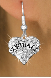 "<BR>          WHOLESALE FASHION HEART JEWELRY <bR>                        EXCLUSIVELY OURS!! <Br>                   AN ALLAN ROBIN DESIGN!! <BR>             LEAD, NICKEL & CADMIUM FREE!! <BR>        W1582SE - ANTIQUED SILVER TONE AND <BR>     CLEAR CRYSTAL ""SOFTBALL"" HEART CHARM <BR>FISH HOOK EARRING FROM $5.40 TO $9.35 �2014"