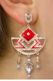 <BR>       WHOLESALE FASHION JEWELRY<Br>    CADMIUM, LEAD AND NICKEL FREE!! <Br>   W20363E - 2 TIERED GOLD TONE AND <BR>       CORAL RED STONE WITH CRYSTAL <BR>         ACCENTED DESIGNER EARRINGS <Br>               FROM $8.44 TO $18.75