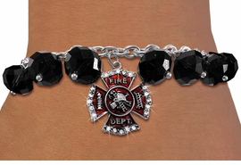 <BR>    WHOLESALE FIRE FIGHTER JEWELRY!! <bR>                  EXCLUSIVELY OURS!! <Br>             AN ALLAN ROBIN DESIGN!! <BR>       LEAD, NICKEL & CADMIUM FREE!! <BR>    W20324B - FIRE DEPARTMENT SHIELD <BR> CRYSTAL CHARM & BLACK CRYSTAL TOGGLE <BR> BRACELET FROM $9.56 TO $21.25 �2013