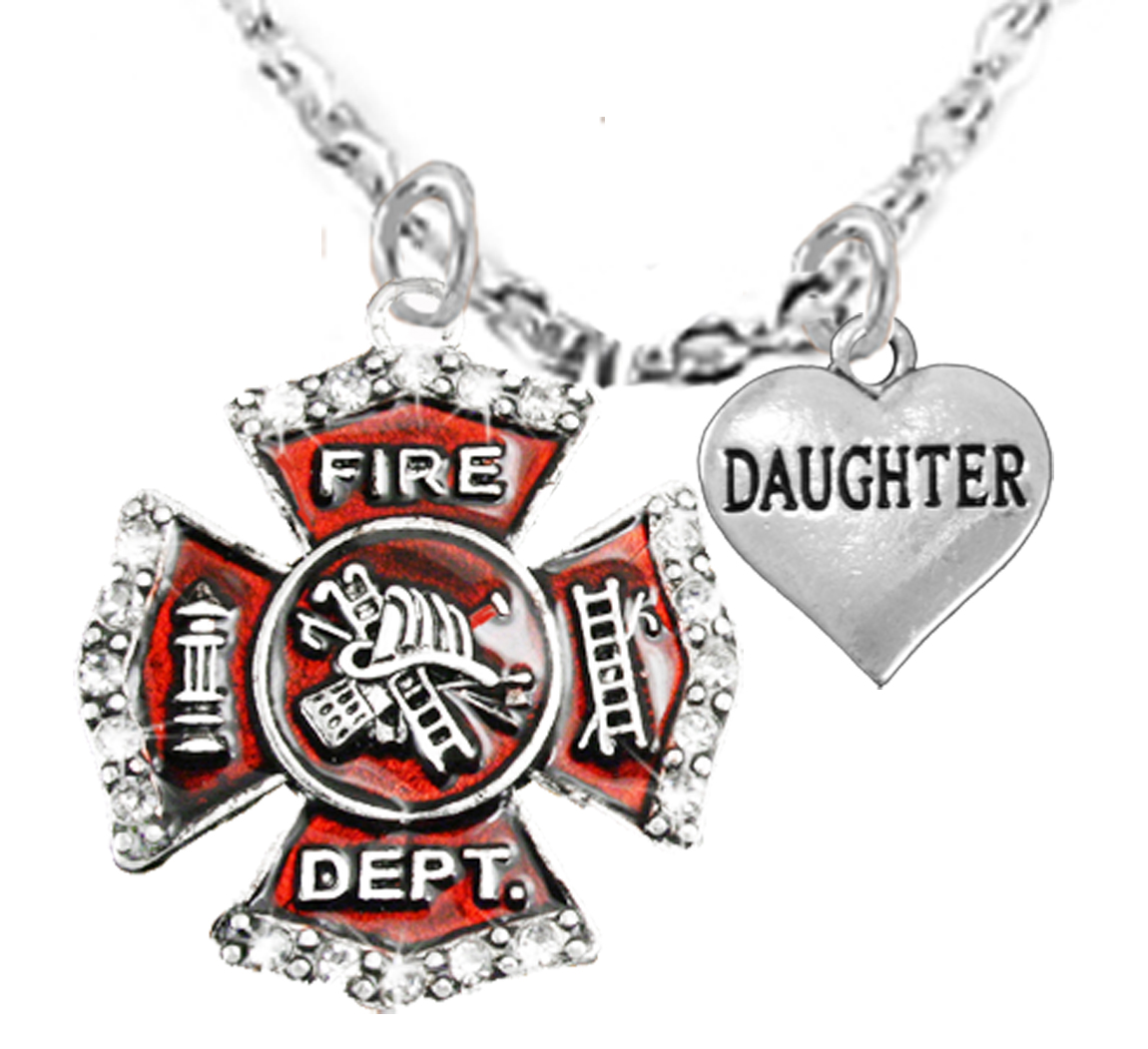 yellow tree gold words jewel collections maltese cross pendant firefighter with page