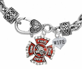 "<Br>              WHOLESALE FIREFIGHTER JEWELRY  <BR>                         AN ALLAN ROBIN DESIGN!! <Br>                   CADMIUM, LEAD & NICKEL FREE!!  <Br> W1284-1876B1  ""FIREFIGHTER  WIFE"" HEART  <BR>  CHARMS ON HEART LOBSTER CLASP BRACELET <BR>            FROM $7.50 TO $9.50 �2016"