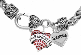 "<Br>              WHOLESALE FIREFIGHTER JEWELRY  <BR>                         AN ALLAN ROBIN DESIGN!! <Br>                   CADMIUM, LEAD & NICKEL FREE!!  <Br> W1557-1832B1  ""FIREFIGHTER  GRANDMA"" HEART  <BR>  CHARMS ON HEART LOBSTER CLASP BRACELET <BR>            FROM $7.50 TO $9.50 �2016"