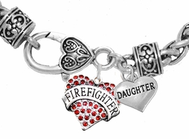 "<Br>              WHOLESALE FIREFIGHTER JEWELRY  <BR>                         AN ALLAN ROBIN DESIGN!! <Br>                   CADMIUM, LEAD & NICKEL FREE!!  <Br> W1557-1831B1  ""FIREFIGHTER  DAUGHTER"" HEART  <BR>  CHARMS ON HEART LOBSTER CLASP BRACELET <BR>            FROM $7.50 TO $9.50 �2016"