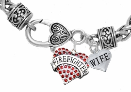 "<Br>              WHOLESALE FIREFIGHTER JEWELRY  <BR>                         AN ALLAN ROBIN DESIGN!! <Br>                   CADMIUM, LEAD & NICKEL FREE!!  <Br> W1557-1876B1  ""FIREFIGHTER  WIFE"" HEART  <BR>  CHARMS ON HEART LOBSTER CLASP BRACELET <BR>            FROM $7.50 TO $9.50 �2016"