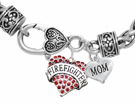 "<Br>              WHOLESALE FIREFIGHTER JEWELRY  <BR>                         AN ALLAN ROBIN DESIGN!! <Br>                   CADMIUM, LEAD & NICKEL FREE!!  <Br> W1557-1837B1  ""FIREFIGHTER  MOM"" HEART  <BR>  CHARMS ON HEART LOBSTER CLASP BRACELET <BR>            FROM $7.50 TO $9.50 �2016"